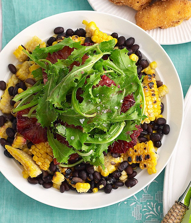 "**[Black bean, corn and blood orange salad](https://www.gourmettraveller.com.au/recipes/browse-all/black-bean-corn-and-blood-orange-salad-10276|target=""_blank"")**"