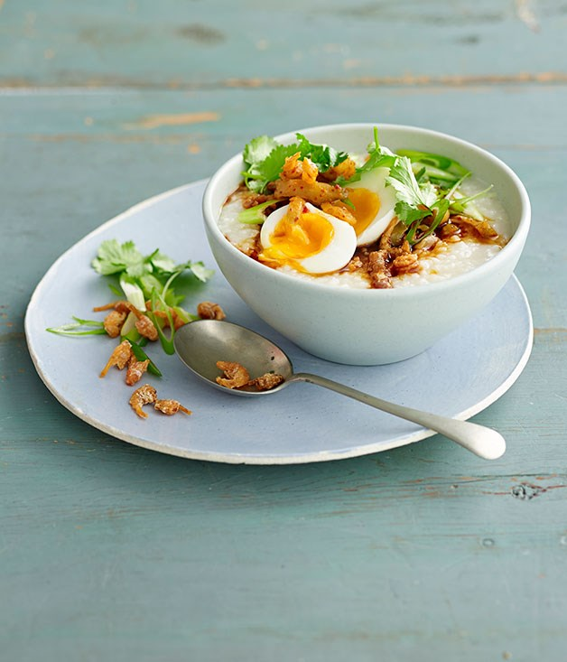 Simple ginger congee with egg and dried shrimp