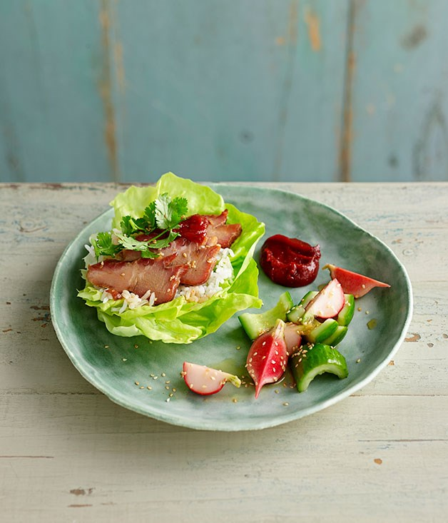 Barbecue pork with butter lettuce, and cucumber and radish pickle