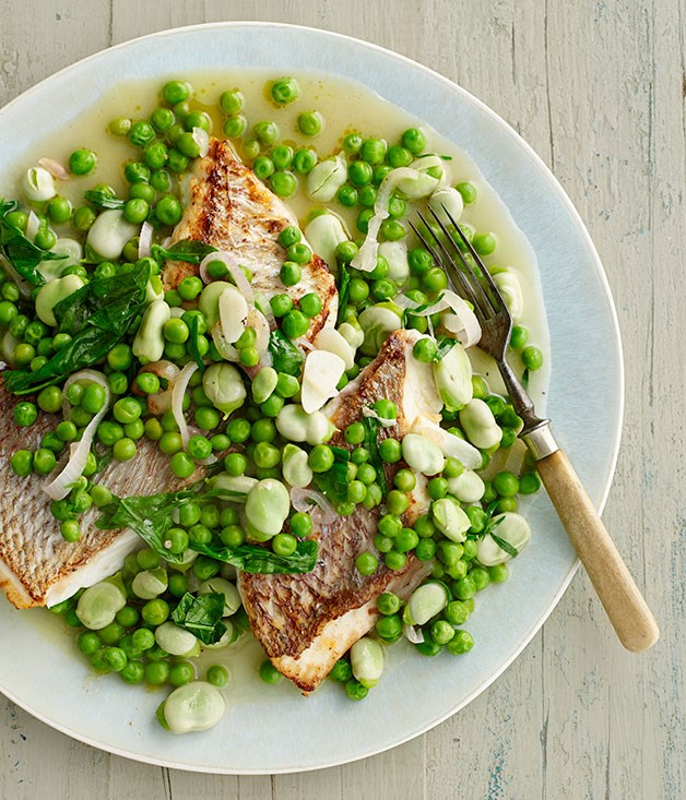 Pink snapper with braised peas and broad beans