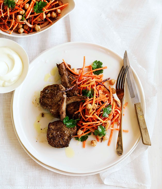 Spiced lamb with carrot and chickpea salad