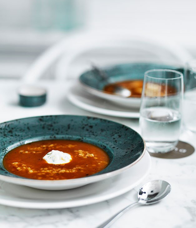 Roast tomato soup with trahanas, Greek-style yoghurt and basil