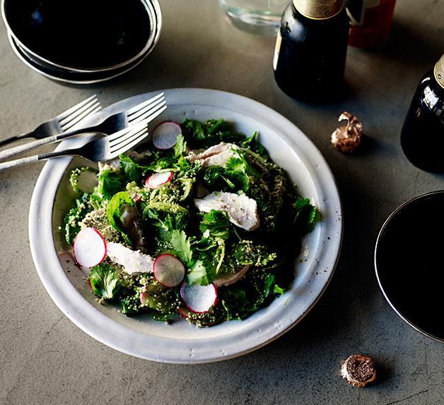 Chicken quinoa salad with recado verde