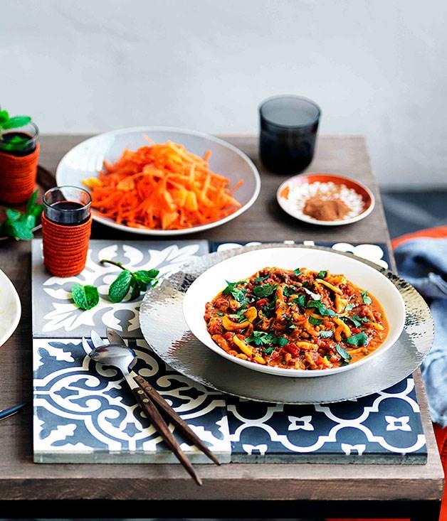 "**[Orange and grated carrot salad with orange-flower water](https://www.gourmettraveller.com.au/recipes/browse-all/orange-and-grated-carrot-salad-with-orange-flower-water-11214|target=""_blank"")**"