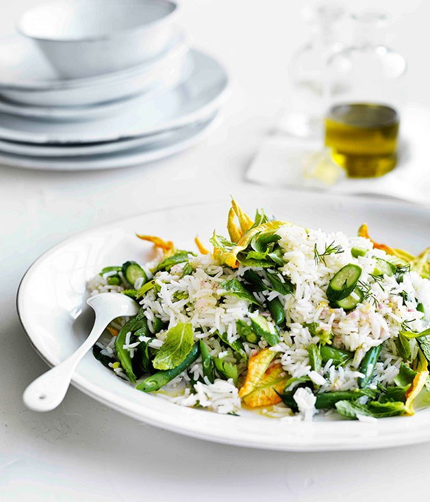 "**[Rice salad with zucchini flowers, peas, beans and mint](https://www.gourmettraveller.com.au/recipes/browse-all/rice-salad-with-zucchini-flowers-peas-beans-and-mint-11606|target=""_blank"")**"