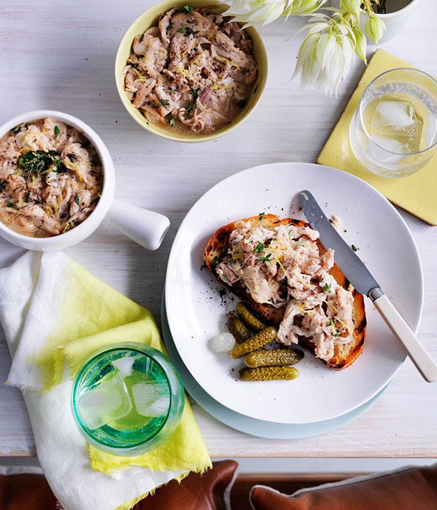 "**[Potted rabbit](https://www.gourmettraveller.com.au/recipes/chefs-recipes/potted-rabbit-9140|target=""_blank"")**"