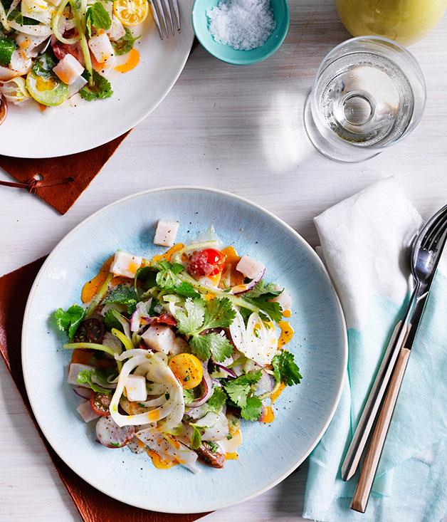 "**[Kingfish and scallop ceviche with tomato oil](https://www.gourmettraveller.com.au/recipes/chefs-recipes/kingfish-and-scallop-ceviche-with-tomato-oil-9141|target=""_blank"")**"