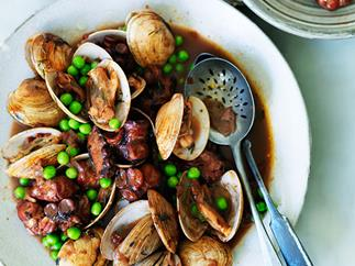 Octopus braised in red wine with clams and peas