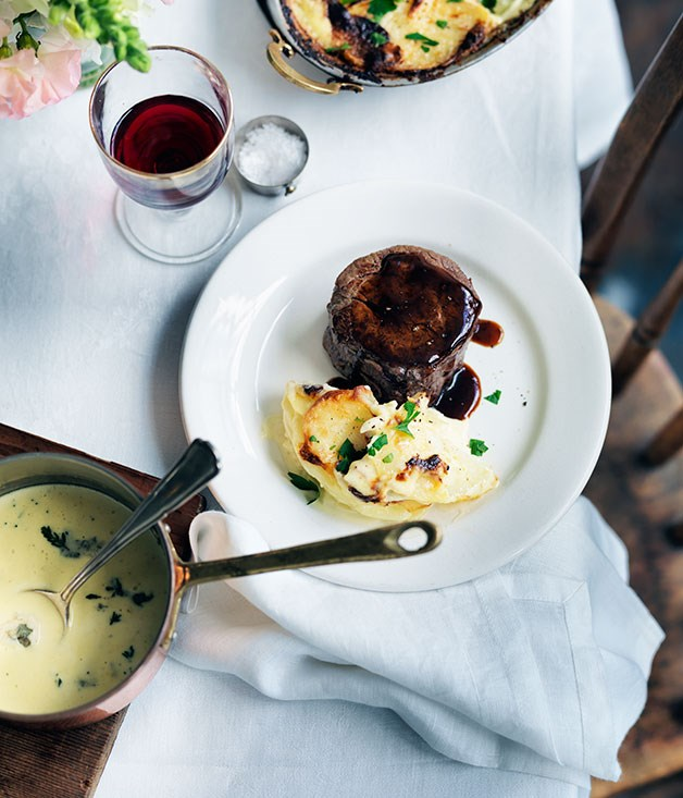 **Pave de boeuf with Roquefort sauce and gratin dauphinoise**