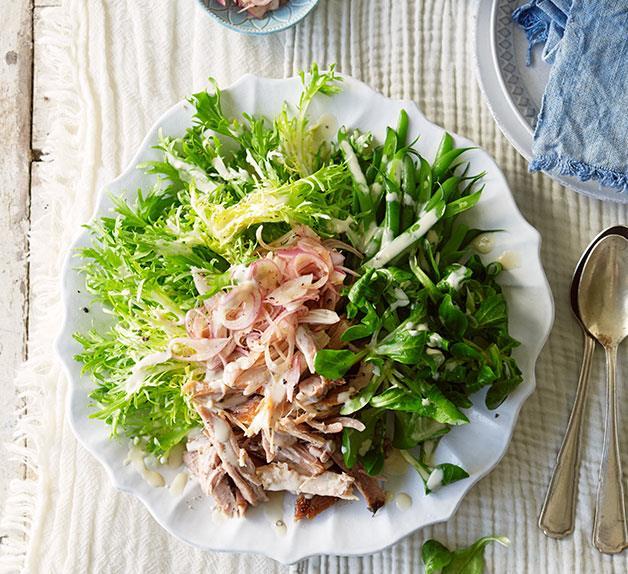Confit pork, green bean and pickled shallot salad