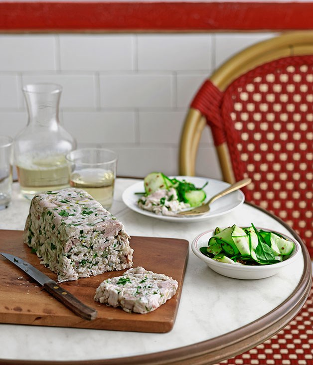 Chicken and parsley terrine with zucchini salad