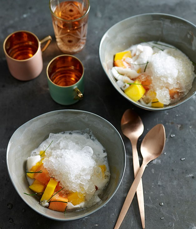 "[Tropical fruits with ice and salty-sweet coconut milk](http://www.gourmettraveller.com.au/recipes/fast-recipes/tropical-fruits-with-ice-and-salty-sweet-coconut-milk-13413|target=""_blank"")"