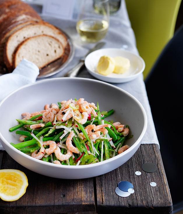 Hawkesbury River school prawn and green bean salad