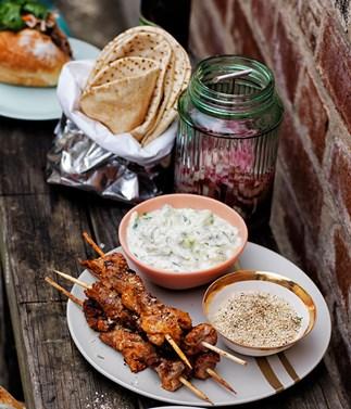 Kebabs with zucchini tzatziki and za'atar