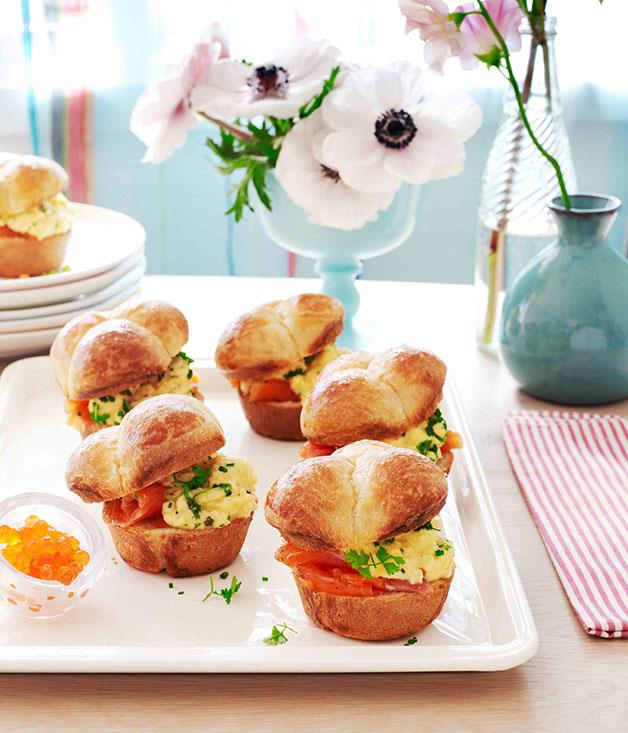 "[**Brioche rolls with scrambled egg and citrus-cured ocean trout**](https://www.gourmettraveller.com.au/recipes/browse-all/brioche-rolls-with-scrambled-egg-and-citrus-cured-ocean-trout-11231|target=""_blank"")"