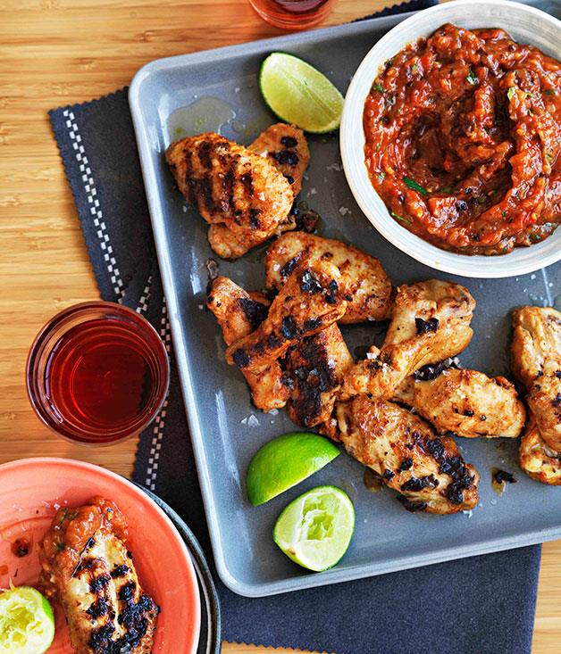 "[**Spiced chicken wings and rosé**](https://www.gourmettraveller.com.au/recipes/browse-all/spiced-chicken-wings-with-roast-garlic-and-chipotle-salsa-14311|target=""_blank"")"
