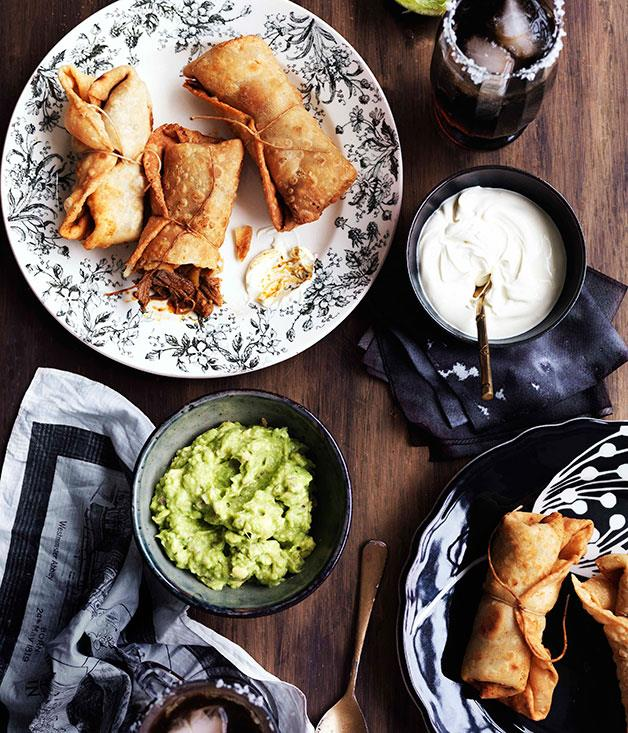 "[**Chimichangas**](https://www.gourmettraveller.com.au/recipes/browse-all/chimichangas-10655|target=""_blank"")"