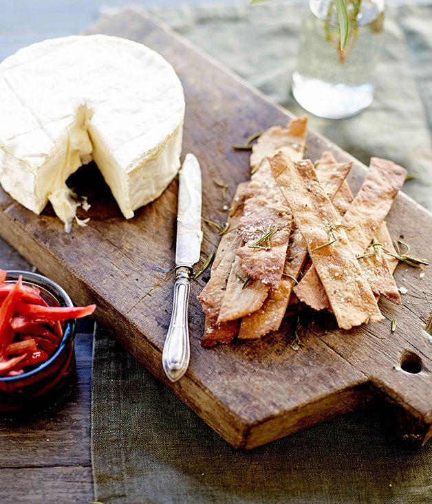 "[Triple-cream cheese with olive oil, chestnut and rosemary biscuits](https://www.gourmettraveller.com.au/recipes/browse-all/triple-cream-cheese-with-olive-oil-chestnut-and-rosemary-biscuits-11678|target=""_blank"")"