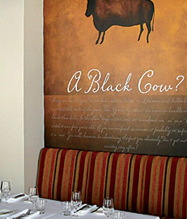 """**Black Cow Bistro** It might be cattle in the style of the Lascaux cave paintings that look down at you from the walls of this converted Art Deco butcher shop, but it's grass-fed, dry-aged Tasmanian beef that's on the plate.  Read our full review of [Black Cow Bistro](http://www.gourmettraveller.com.au/restaurants/restaurant-guide/restaurant-reviews/b/black/black-cow-bistro/ """"Black Cow Bistro"""")."""