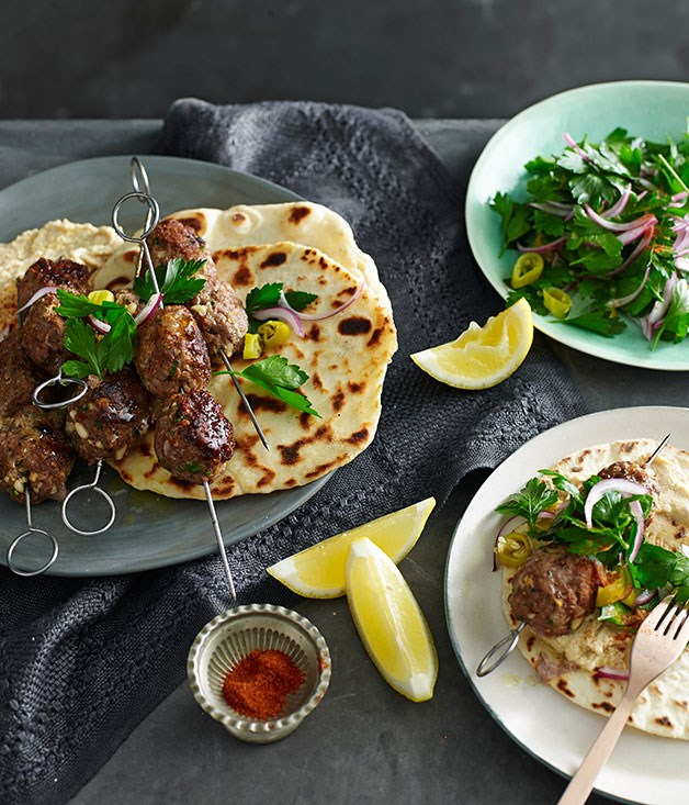 Spiced lamb and pine nut köfte with yoghurt flatbread