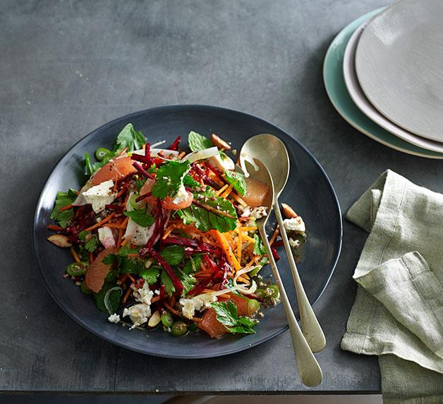 Raw fennel, beetroot and carrot salad with freekeh and almonds