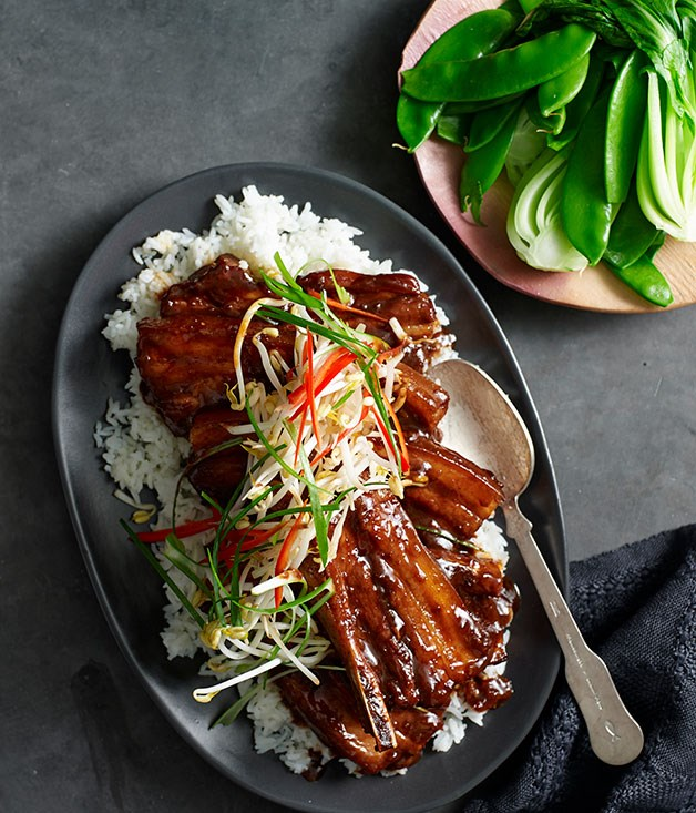 Glazed pork ribs with hoisin and star anise