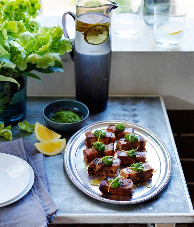 Pressed pork hock with parsley and young garlic sauce