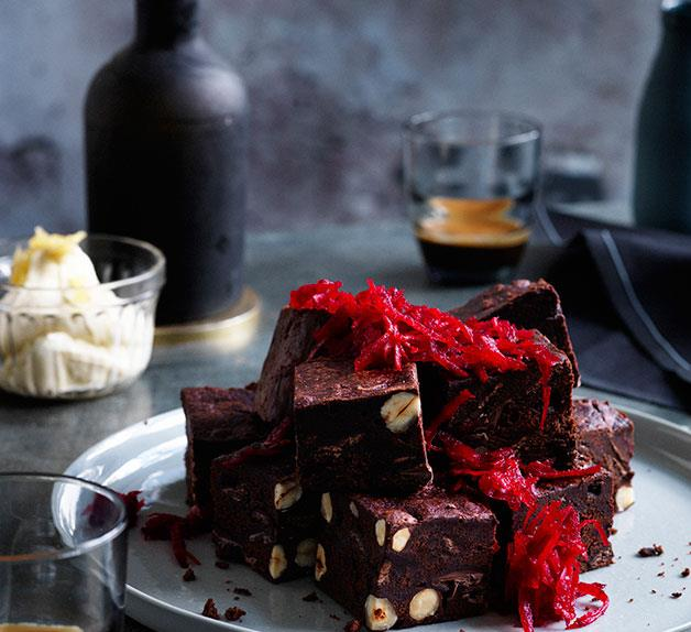 Beetroot brownies with ginger crème fraîche