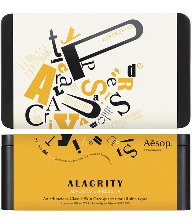 "**Essence of avant-garde**  [Aesop](http://www.aesop.com ""Aesop"") celebrates the brilliant eccentricity of the early 20th-century Italian Futurist art movement with the launch of six seasonal gift kits, $60-$160."
