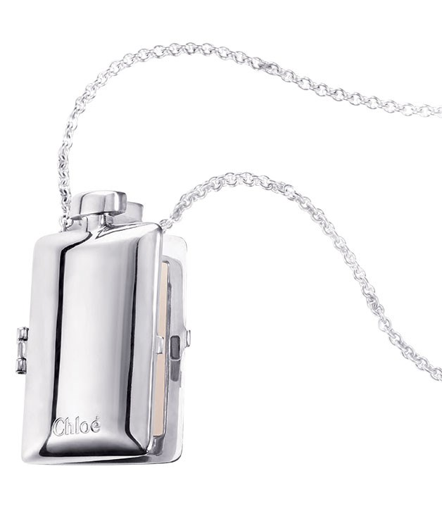 **On the block**  Handy for travelling is this no-spill solid perfume necklace by Chloé, in which a block of the new floral fragrance Ally sits inside a locket, $75. 1800 812 663.