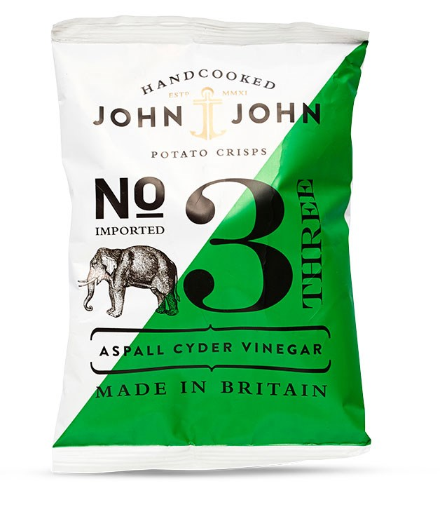 """**Crisp design inside and out** Old Blighty firms up its reputation for being the world-leader in chips with [John & John's](http://www.rawmaterials.com.au """"Raw Materials"""") offerings; 150gm/$6.95.      Photography: Pablo Martin"""
