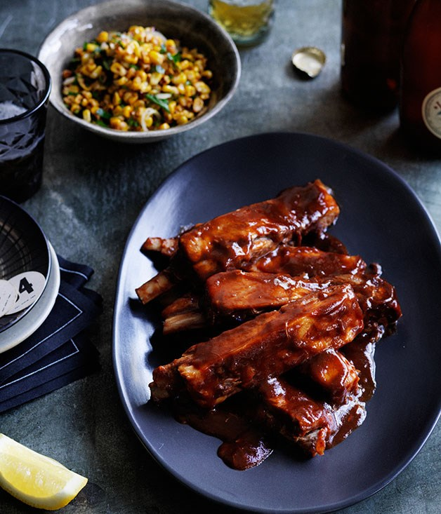 Glazed lamb ribs with corn salad