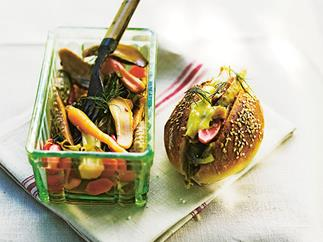 Confit rabbit and pickled vegetable sandwiches