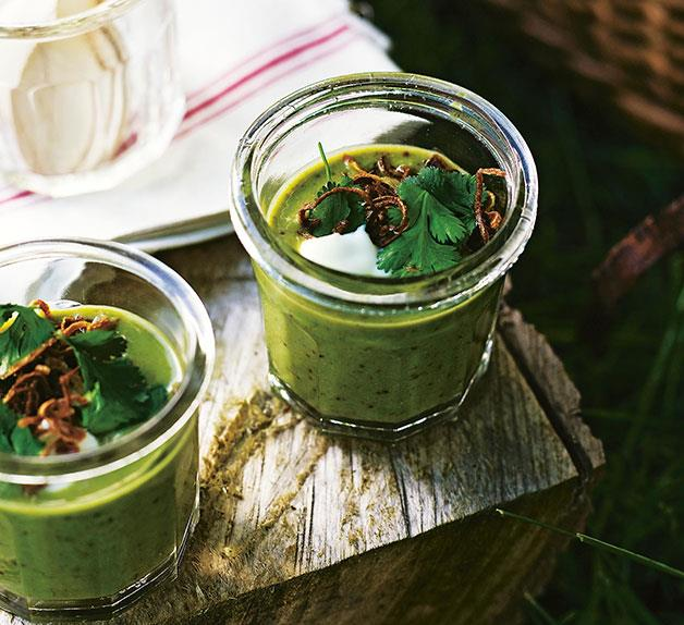 Chilled pea and coriander soup