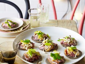 Buckwheat crêpes with duck, pickled mushrooms and leek
