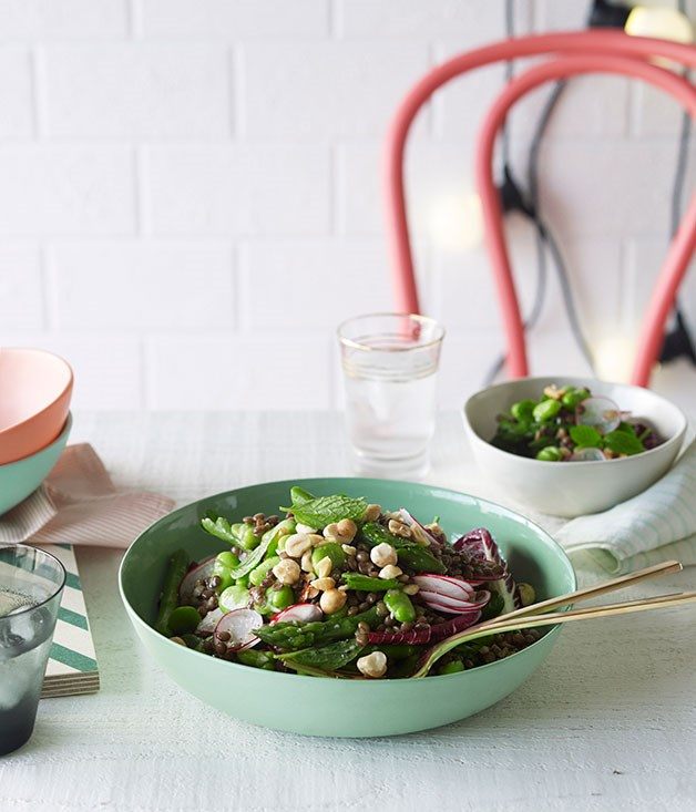 Lentil, mint and broad bean salad