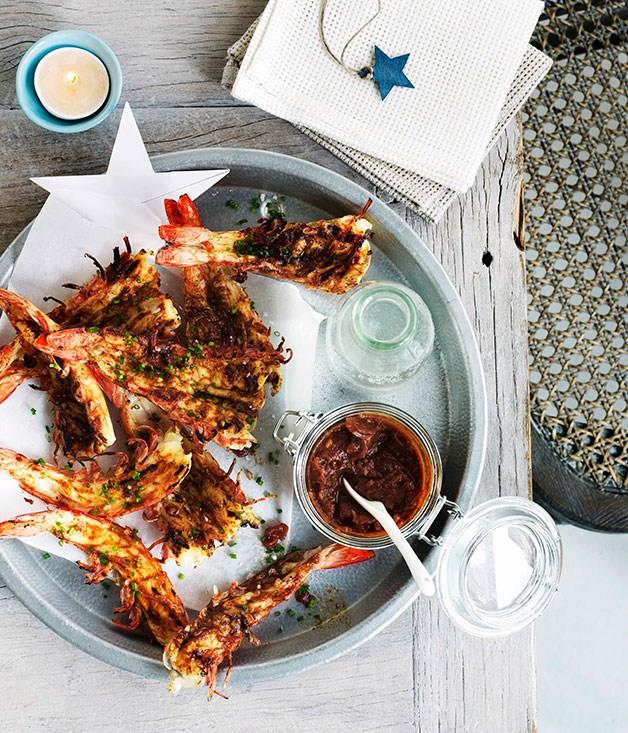 "**[Barbecue prawns](https://www.gourmettraveller.com.au/recipes/browse-all/barbecue-prawns-10920|target=""_blank"")**"