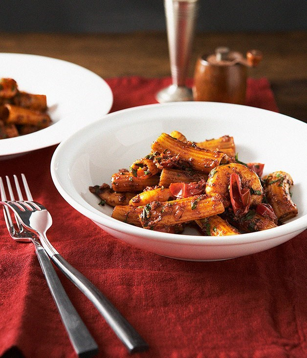 "**[Rigatoni with Nduja and Prawns](https://www.gourmettraveller.com.au/recipes/browse-all/rigatoni-with-nduja-and-prawns-14065|target=""_blank"")**"