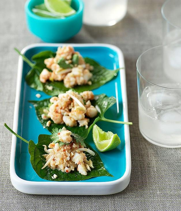 "**[Betel leaves topped with prawns and galangal](https://www.gourmettraveller.com.au/recipes/fast-recipes/betel-leaves-topped-with-prawns-and-galangal-9513|target=""_blank"")**"