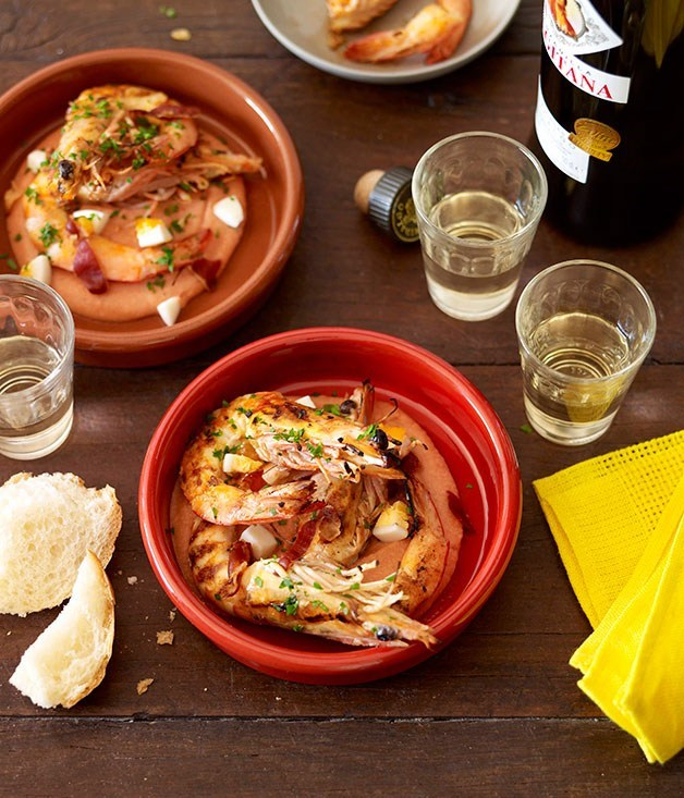 "**[Chargrilled Prawns with Salmorejo and Pancetta](https://www.gourmettraveller.com.au/recipes/chefs-recipes/chargrilled-prawns-with-salmorejo-and-pancetta-8862|target=""_blank"")**"