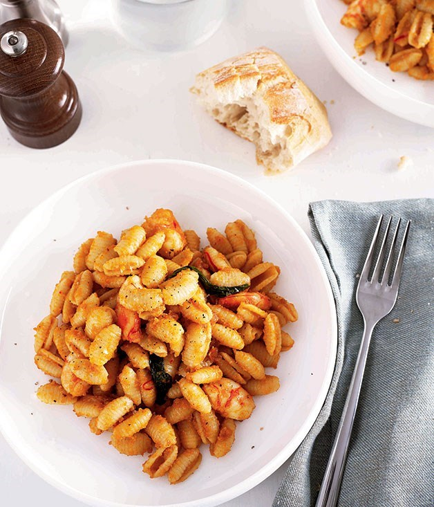 "**[Malloreddus with Prawns and Smoked Bottarga](https://www.gourmettraveller.com.au/recipes/chefs-recipes/malloreddus-with-prawns-and-smoked-bottarga-8826|target=""_blank"")**"