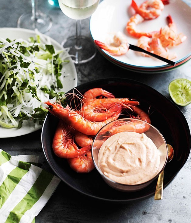 "**[Prawns with Daikon Salad and Spicy Lime Mayonnaise](https://www.gourmettraveller.com.au/recipes/browse-all/prawns-with-daikon-salad-and-spicy-lime-mayonnaise-10936|target=""_blank"")**"