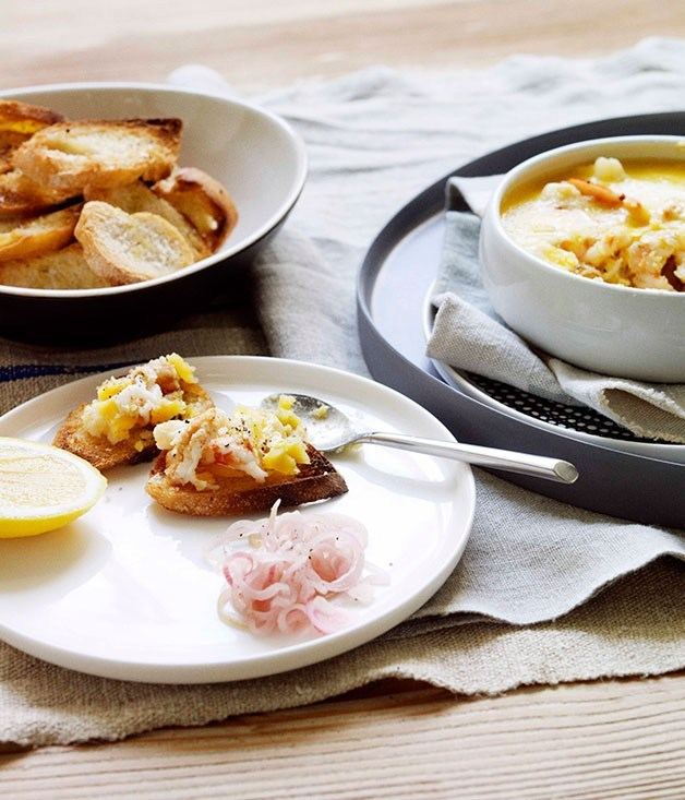 "**[Potted Prawns with Pickled Shallots](https://www.gourmettraveller.com.au/recipes/browse-all/potted-prawns-with-pickled-shallots-11072|target=""_blank"")**"