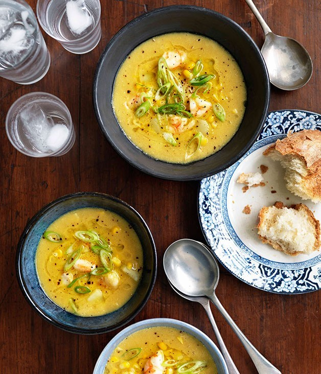 **Velveted prawns with sweetcorn soup**