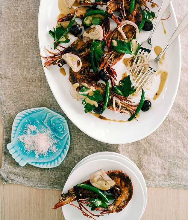 "**[Grilled Tiger Prawns with Ortiz Anchovies](https://www.gourmettraveller.com.au/recipes/chefs-recipes/grilled-tiger-prawns-with-ortiz-anchovies-7157|target=""_blank"")**"