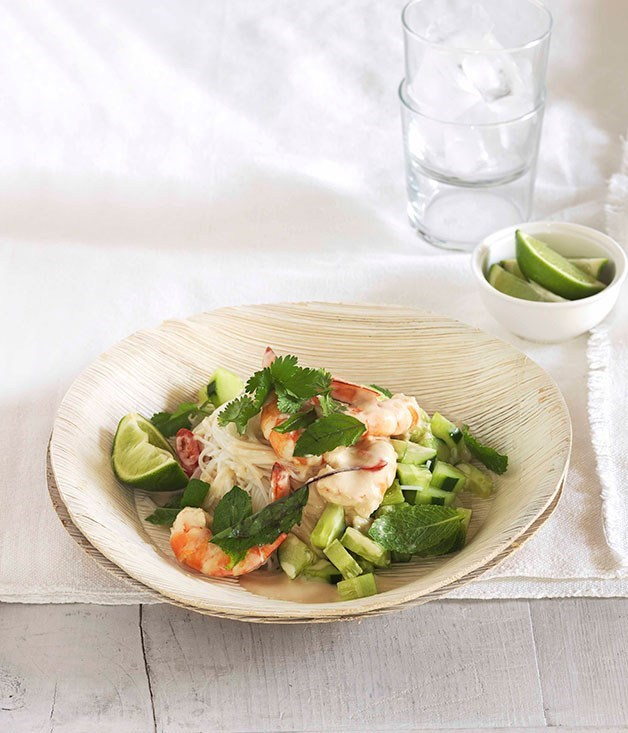 "**[Poached Prawns with Rice Noodles, Cucumber and Thai Herbs](https://www.gourmettraveller.com.au/recipes/fast-recipes/poached-prawns-with-rice-noodles-cucumber-and-thai-herbs-13064|target=""_blank"")**"