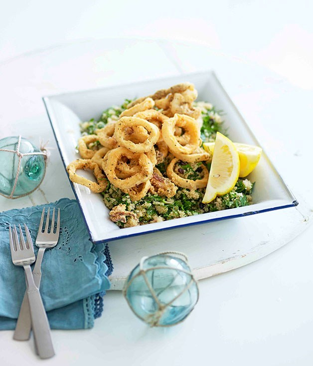**Fried Calamari with Amaranth, Dill and Olives**