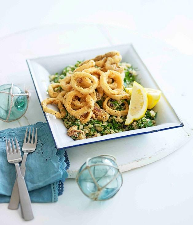 """[**Fried calamari with amaranth, dill and currants**](https://www.gourmettraveller.com.au/recipes/fast-recipes/fried-calamari-with-amaranth-dill-and-currants-13270