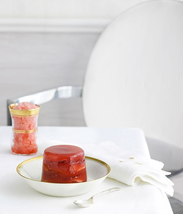 "[**Strawberry and rose petal terrines with watermelon granita**](https://www.gourmettraveller.com.au/recipes/chefs-recipes/strawberry-and-rose-petal-terrines-with-watermelon-granita-8910|target=""_blank"")"
