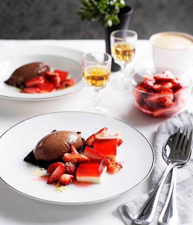 "[**Chocolate, strawberries and cream**](https://www.gourmettraveller.com.au/recipes/chefs-recipes/chocolate-strawberries-and-cream-9099|target=""_blank"")"